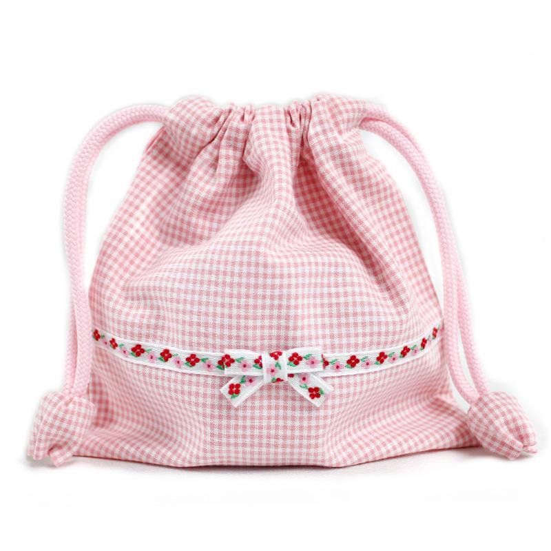 【単品販売】ギンガムチェックと花柄テープのランチセット【ピンク】 LCS-PG01