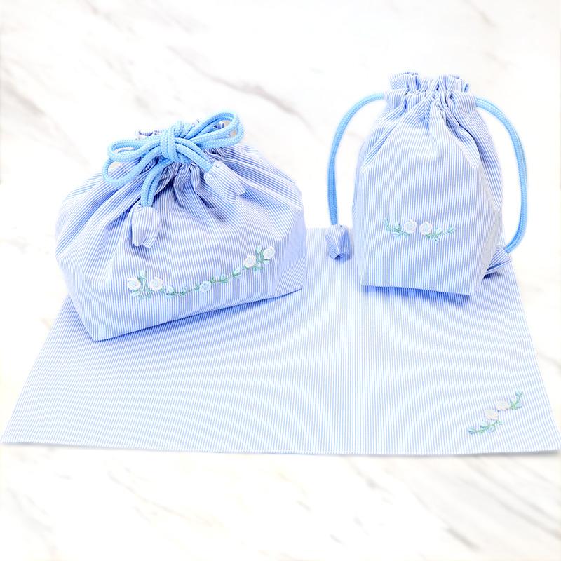 【単品販売】手刺繍バリオンローズのランチセット 【ホワイトローズ】 ブルーコードレーン  LCS-BRW01
