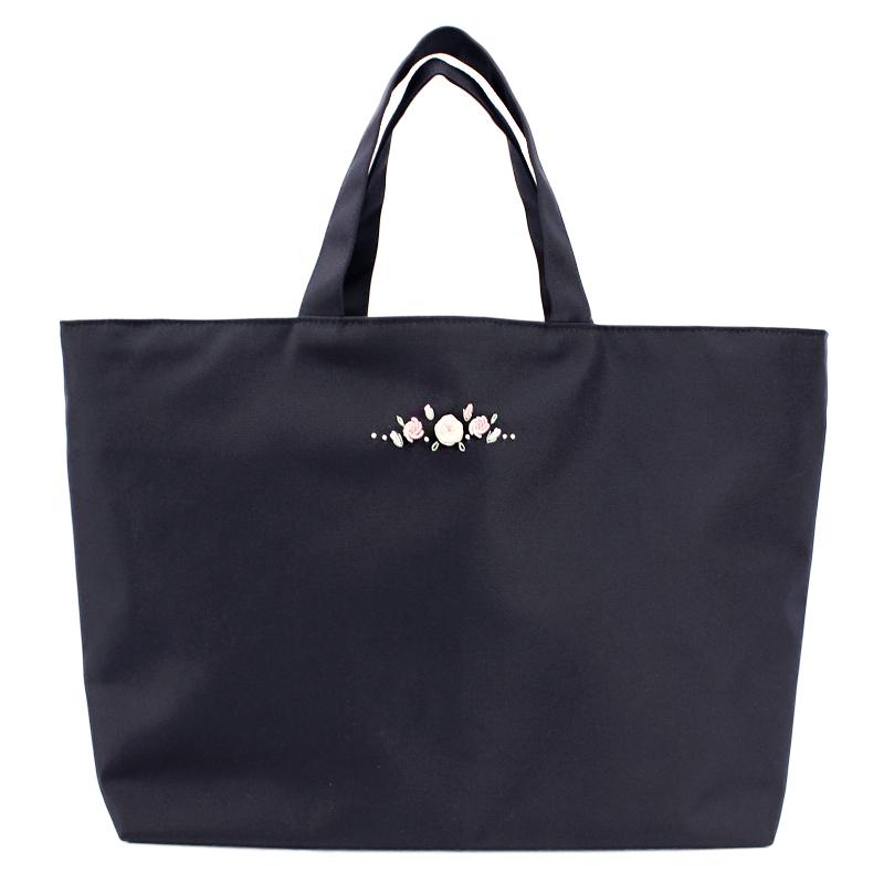 ナイロンの自立型サブバッグ 【手刺繍ローズ】 濃紺 NY-LB-SST02