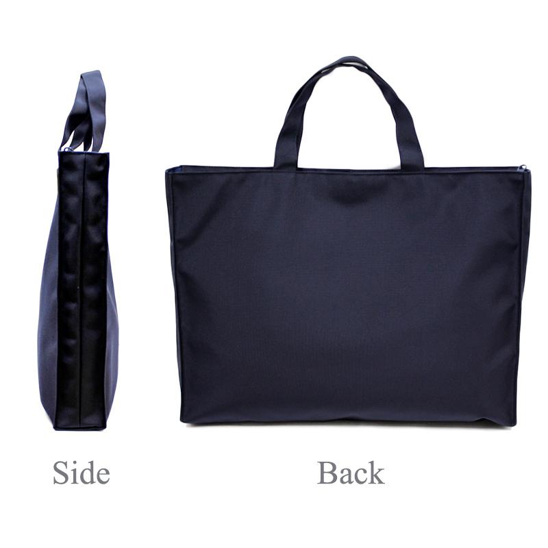 ナイロンオックスのファスナー付きレッスンバッグ【外ポケット】紺 NY-LB-PM01