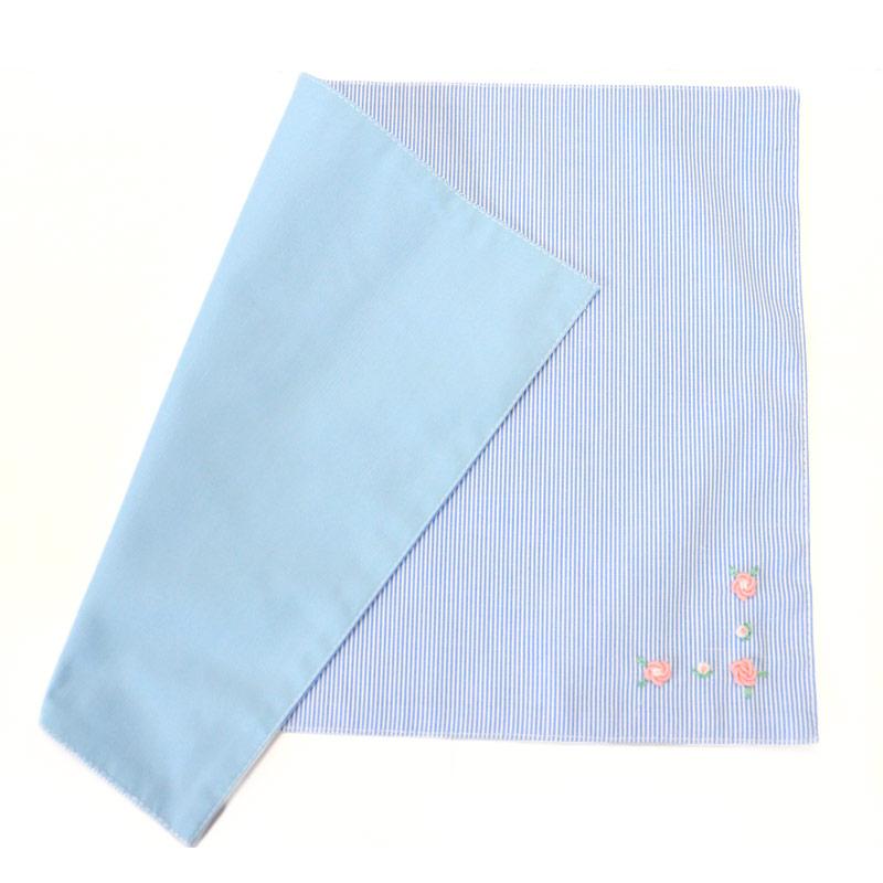 【単品販売】手刺繍バリオンローズのランチセット 【ピンクローズ】 ブルーコードレーン  LCS-BRP02