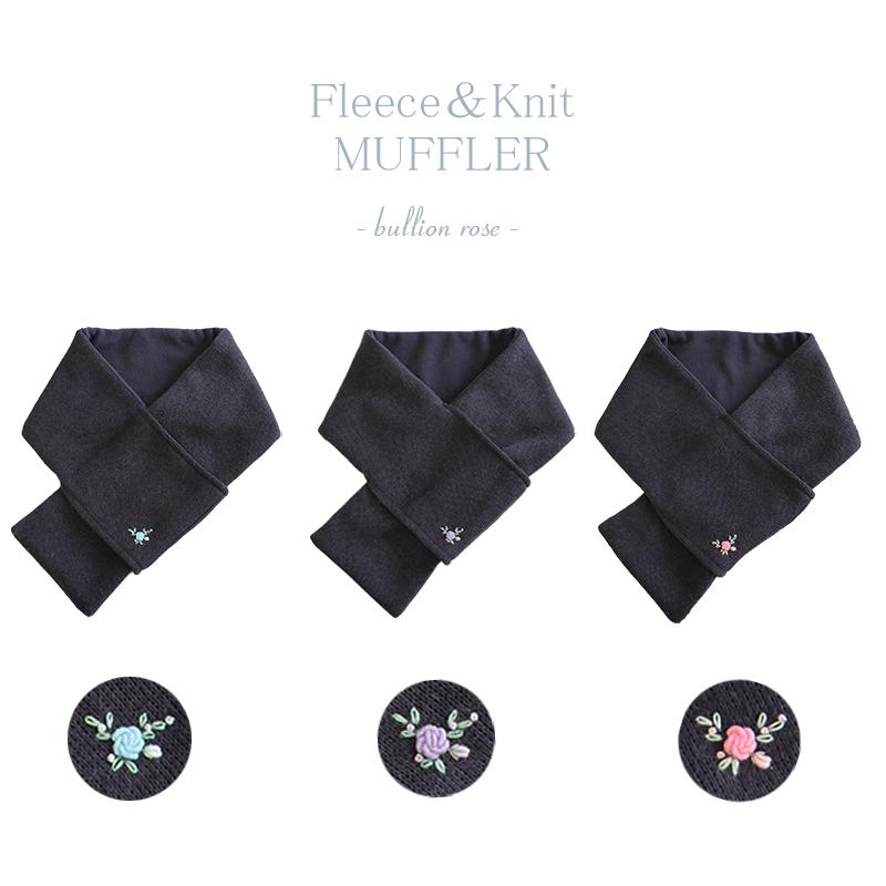 フリース&ニットのシンプルマフラー【手刺繍シリーズ】ネイビー FN-MF-HSNV01