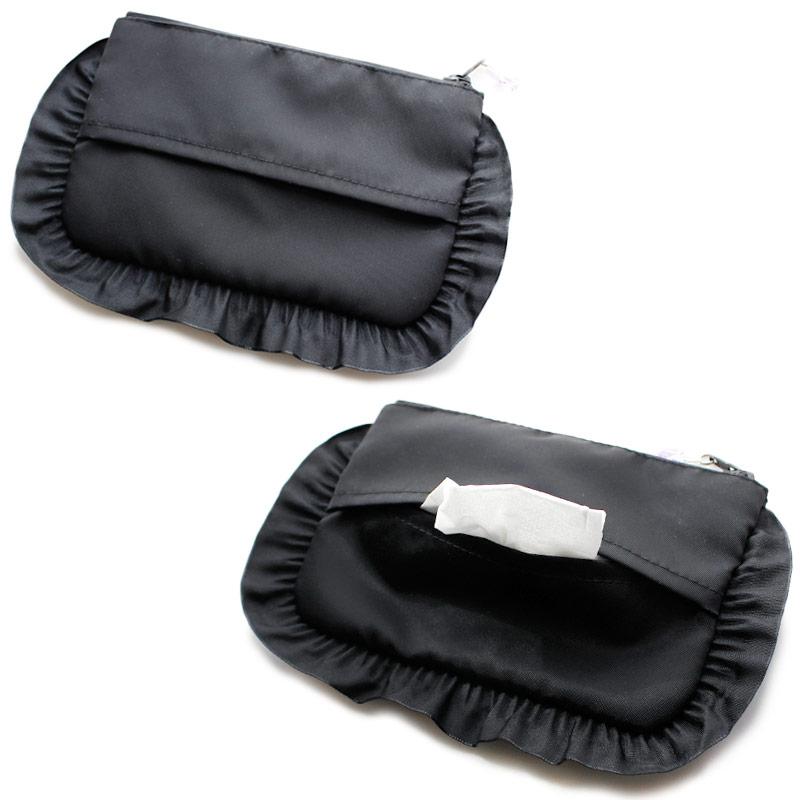 【プチオーダー】ナイロンサテンのイニシャル刺繍入りフリルポーチ【黒】ORD-INFP01