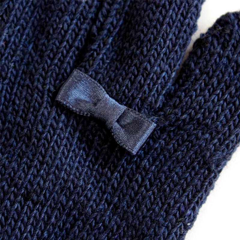 リボン付き裏起毛手袋【ネイビー】 GLO-RI