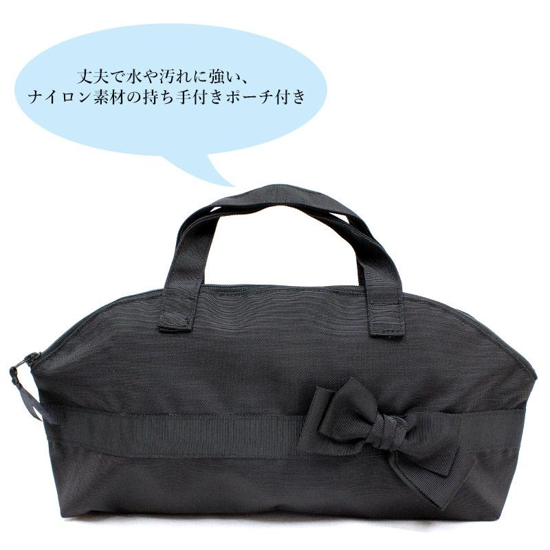【ポーチ付き】3.5cmヒール付き携帯スリッパ【黒】ミニリボン KS35C-S21