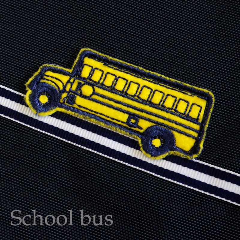 【HandMade】濃紺 ナイロンオックスのランチ保冷バッグ【ネイビーボーダー】スクールバス LCB-BD01
