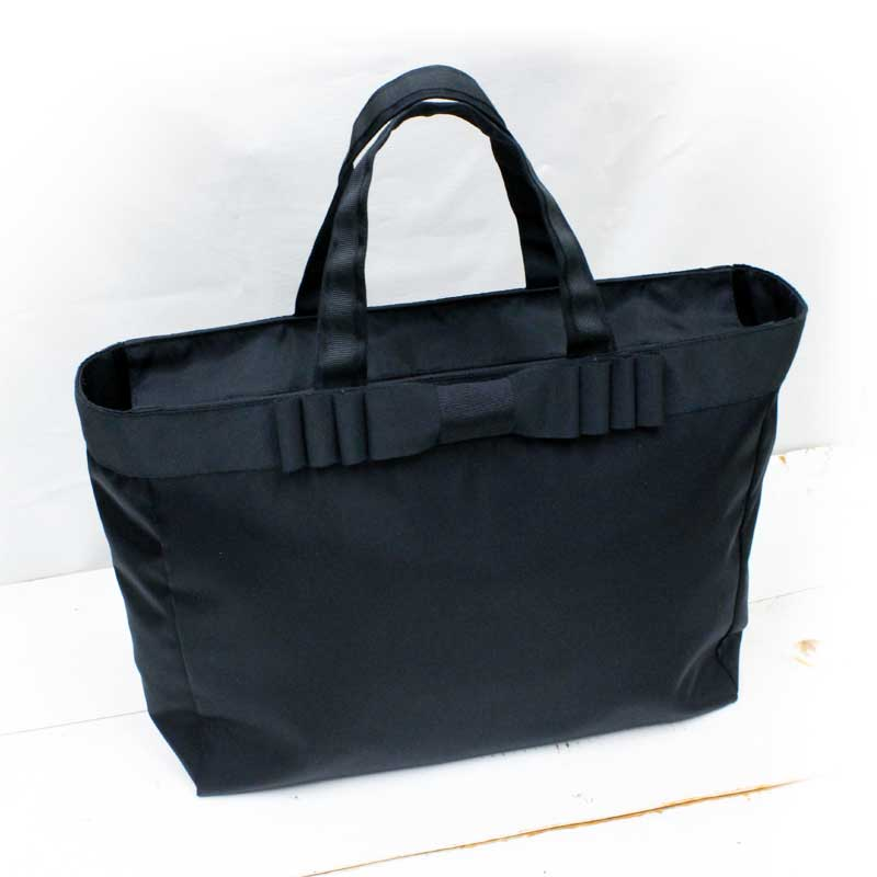ナイロンサテンのトートバッグ 【カルテットリボン】  黒 QRT-B03 ☆A4サイズトート☆