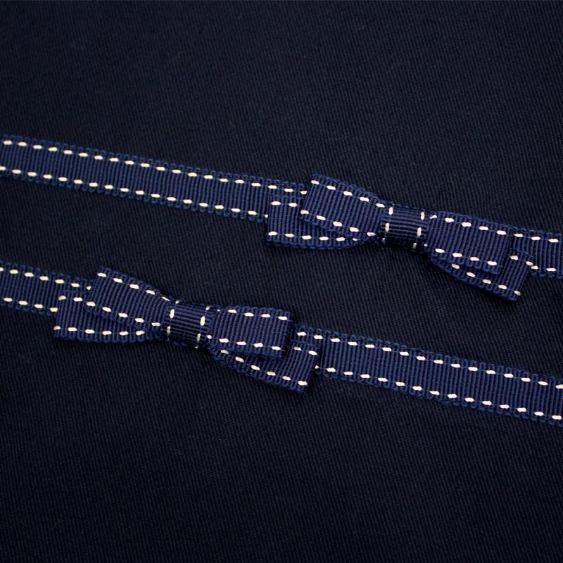 濃紺 スクール巾着【ステッチリボン】SK-SR01