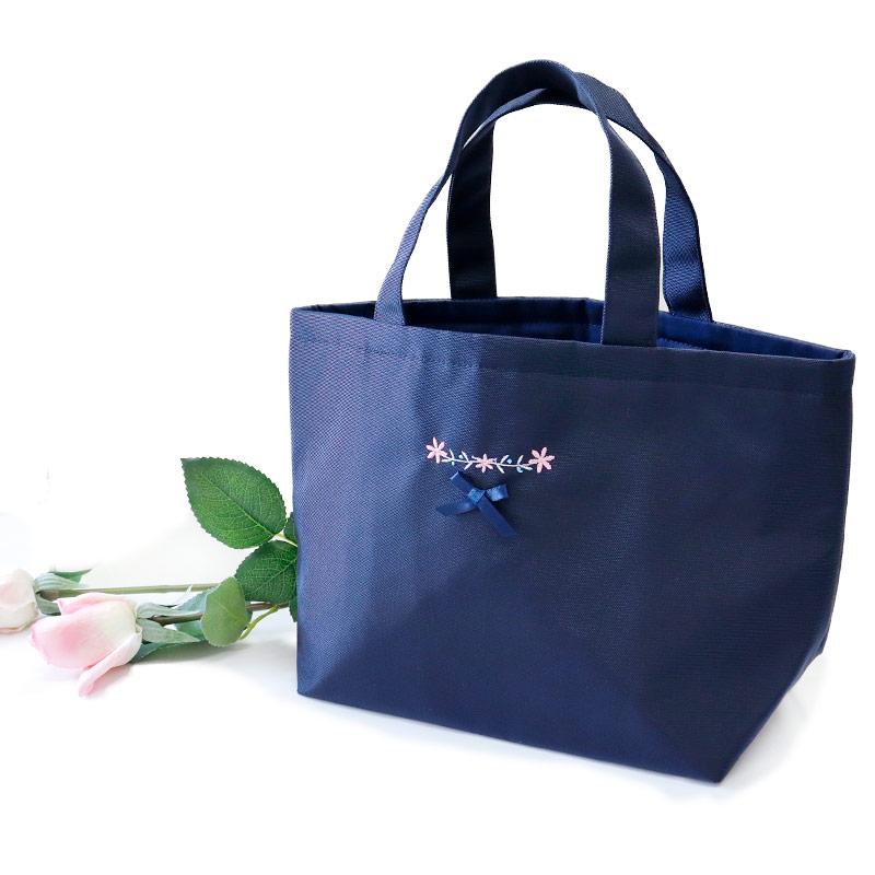 【HandMade】濃紺 ナイロンオックスのランチ保冷バッグ【小花刺繡】LCB-FS01