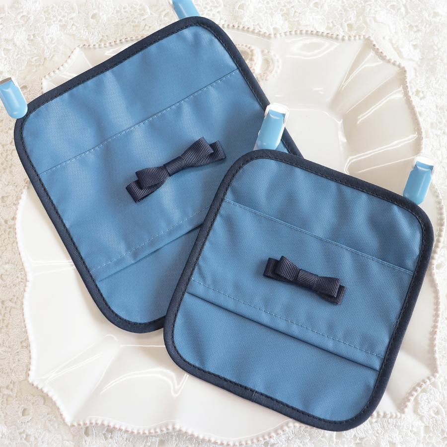 【抗菌・制菌】ナイロンの移動ポケット グログランミニリボン ブルー TP-NR-BLR01 大・小サイズ
