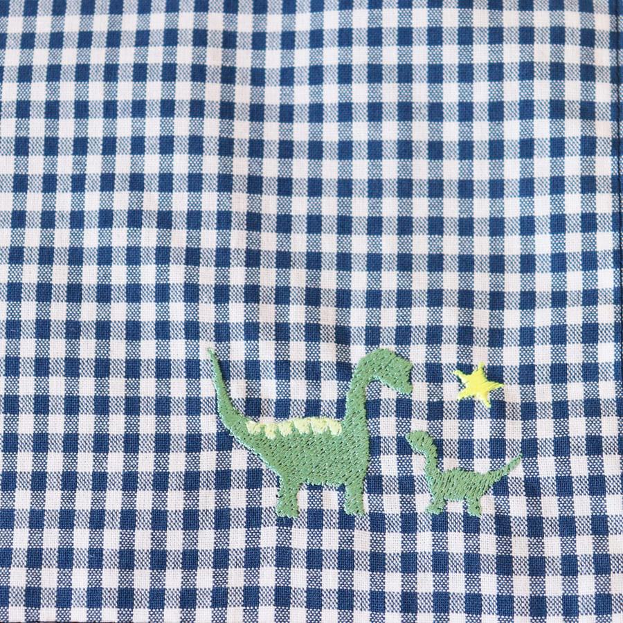 【-色彩感覚を育てる- COLORFUL Kirsch*】 dinosaurランチセット  恐竜とネイビーギンガムチェック LCS-DNS-02