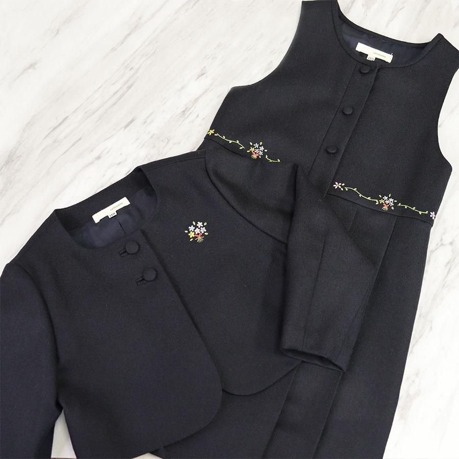 【carinissimo カリニッシモ】 ボレロとジャンパースカートのアンサンブル フラワーブーケ刺繍 《濃紺》 CB-BQ