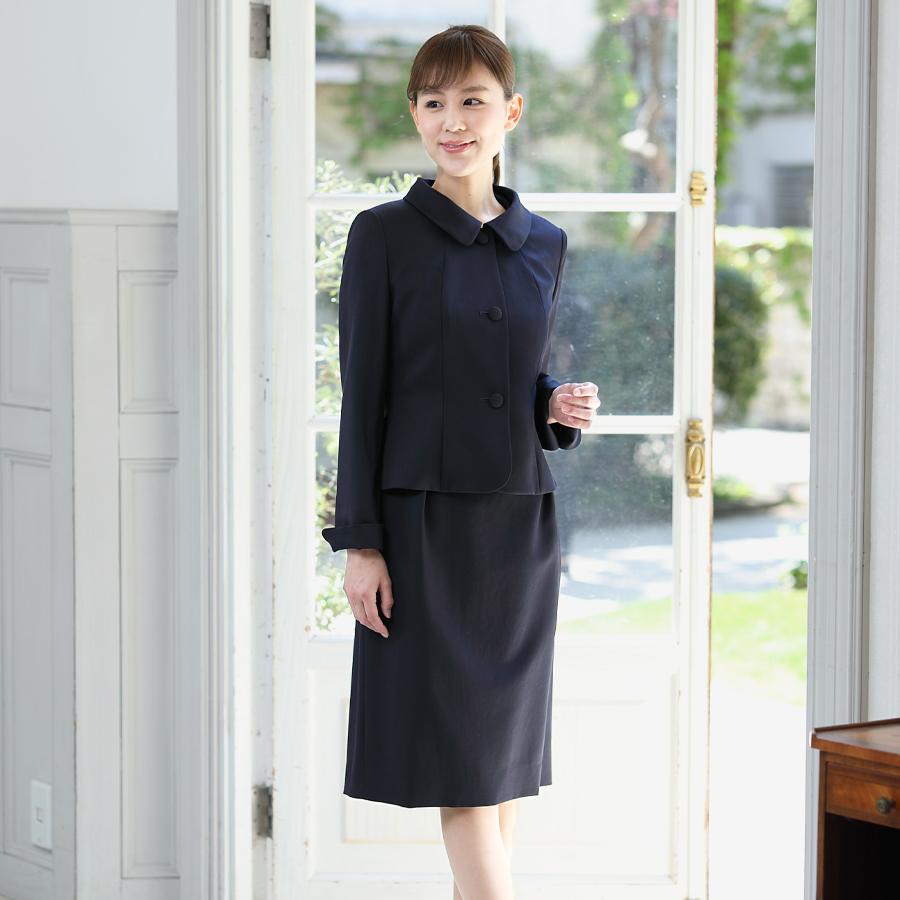 丸襟のアンサンブルスーツ 200608 【濃紺・お受験スーツ・卒園式・入園式・入学式スーツ】