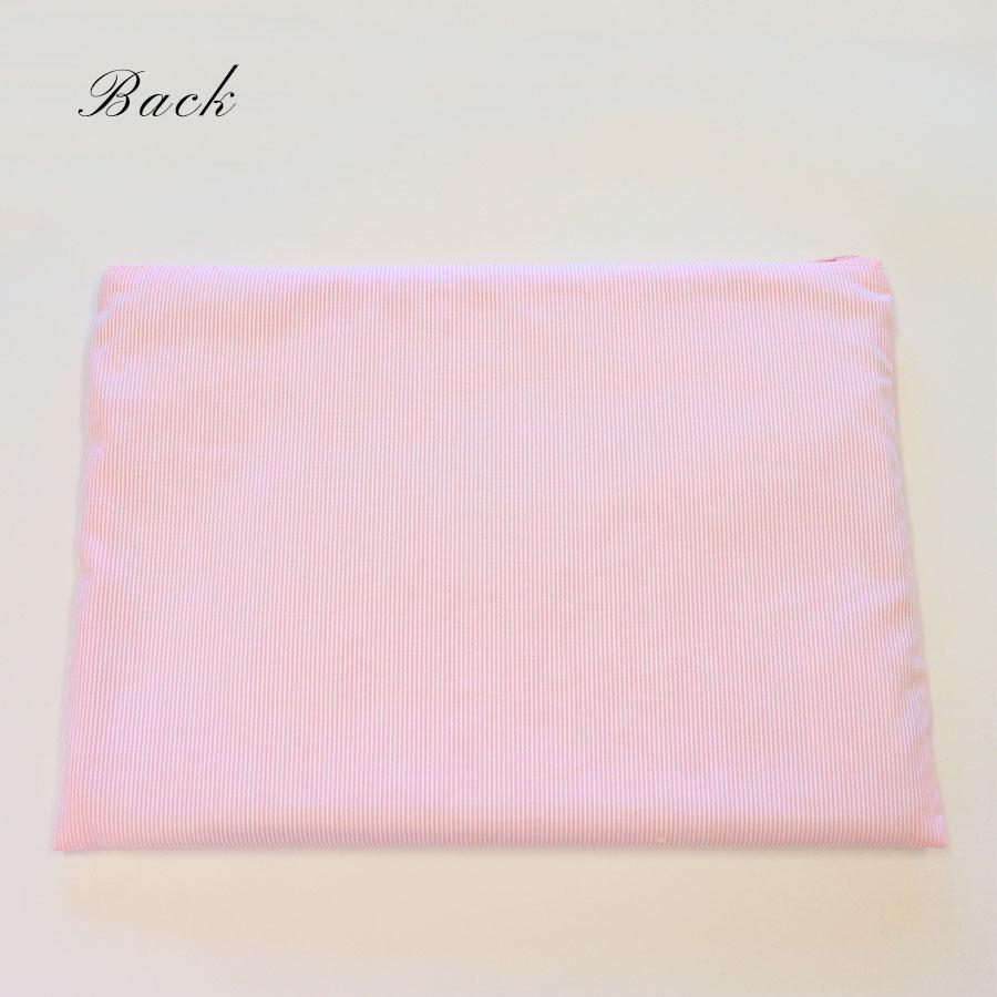 ファスナーポーチ 手刺繍ローズとピンクコードレーン 大サイズ FPO-PI01