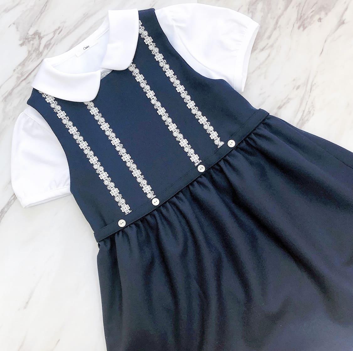 【カリニッシモ】ジャンパースカート 胸元レース&ギャザーフレアスカート KCSJK-R102