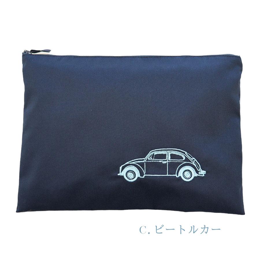 クラシックカー刺繍のファスナーポーチ 【大サイズ】 FPO-BOY01