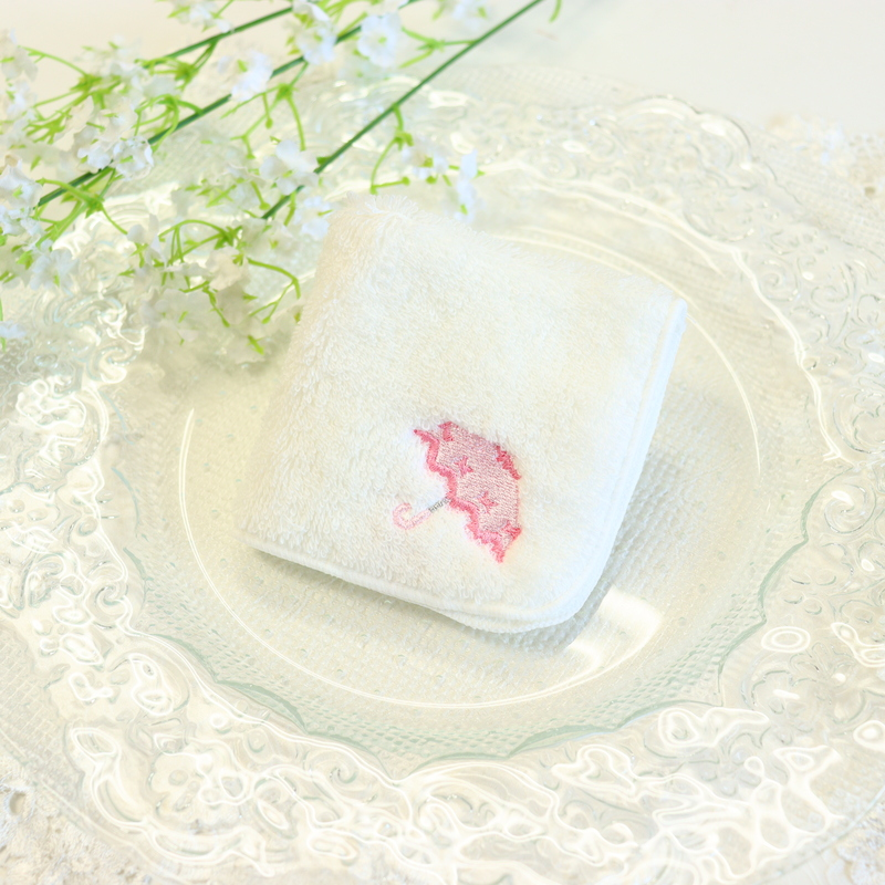 リボン傘の刺繍入りタオルハンカチ IT-UMB01 【ピンク】