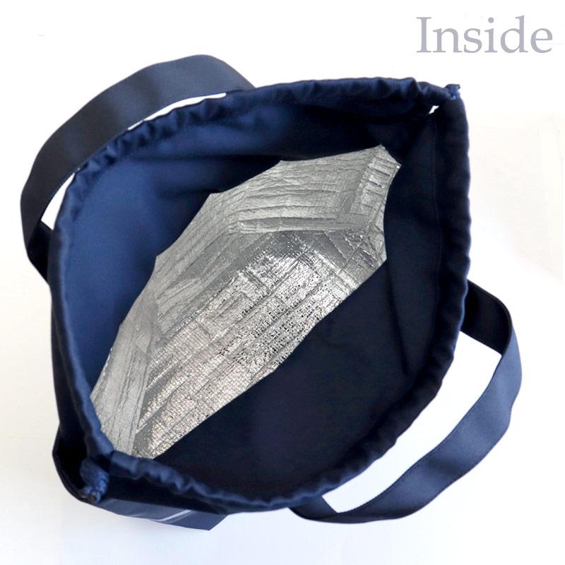 【HandMade】濃紺 ナイロンオックスのランチ保冷バッグ【ネイビーボーダー】ベアー LCB-BD02