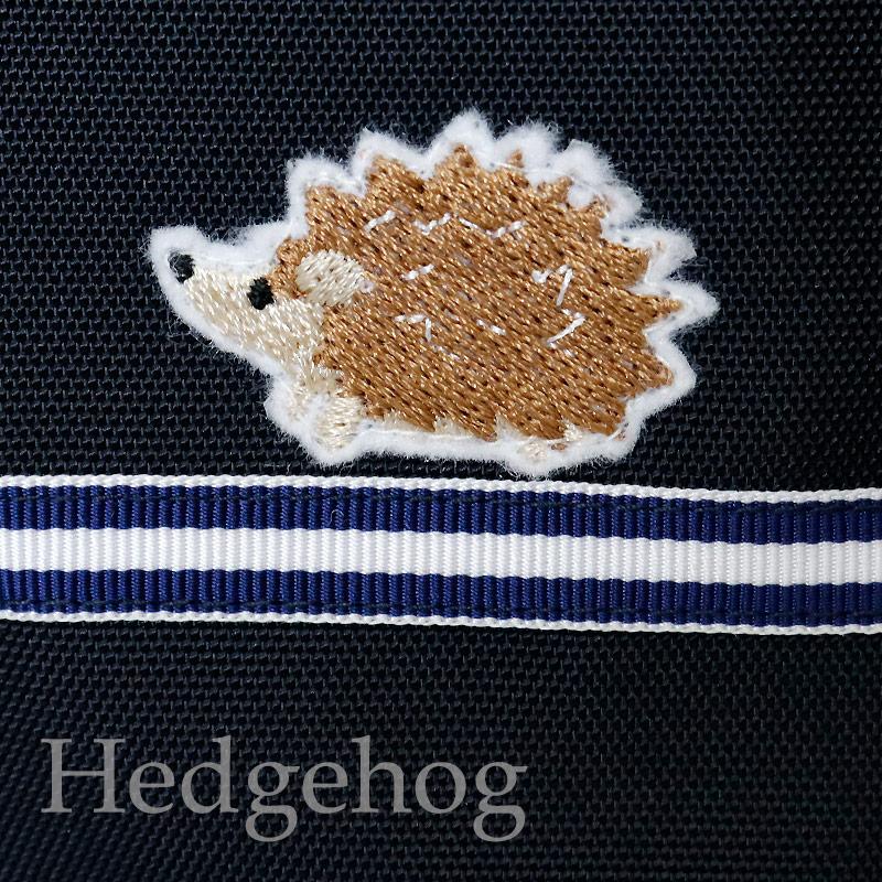 【HandMade】濃紺 ナイロンオックスのランチ保冷バッグ【ネイビーボーダー】ハリネズミ LCB-BD03