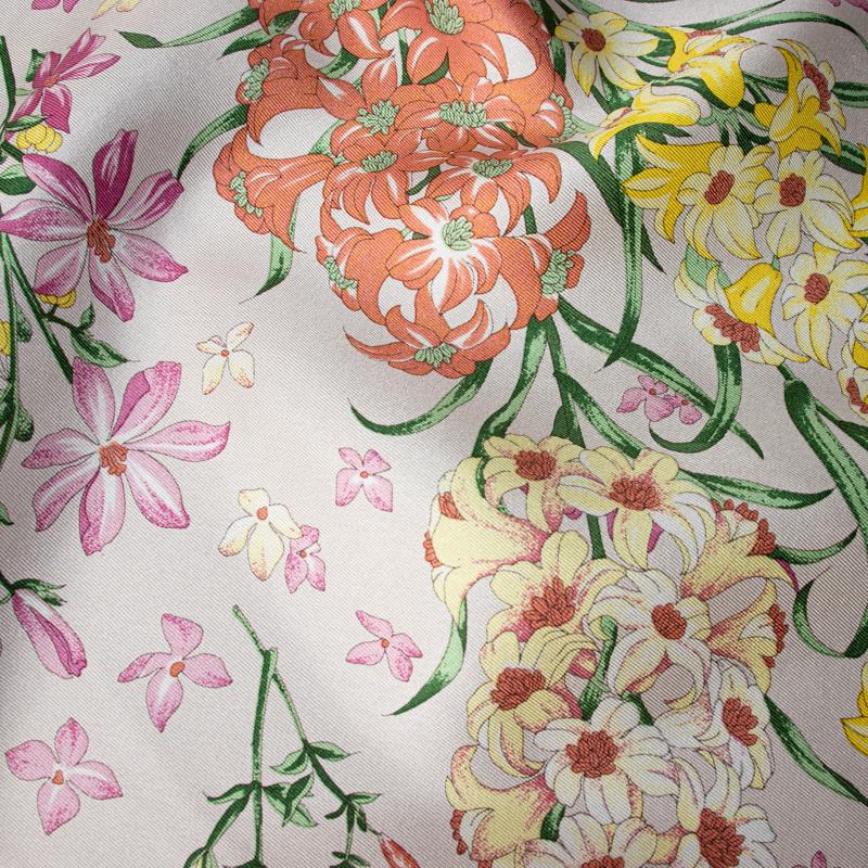 【 foulatelier(フラトリエ)】 シルクツイル ボタニカル柄プチスカーフ