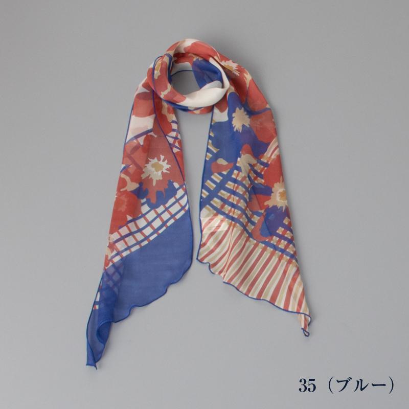 【 foulatelier(フラトリエ)】 シルクローン柄メロー プチロングスカーフ