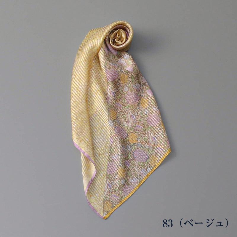 【 V&A(ヴィ・アンド・エー)】 シルクハーフボーダーウイリアムモリス柄セミスカーフ