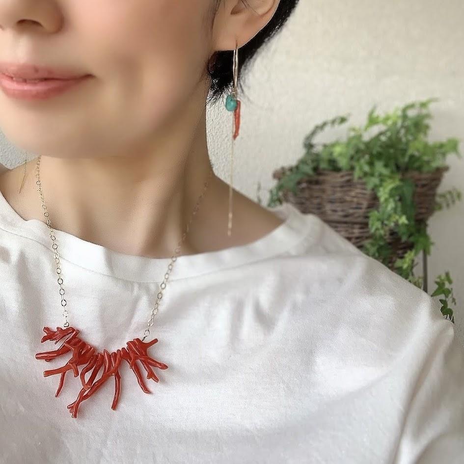 枝珊瑚フープピアス・イヤリング