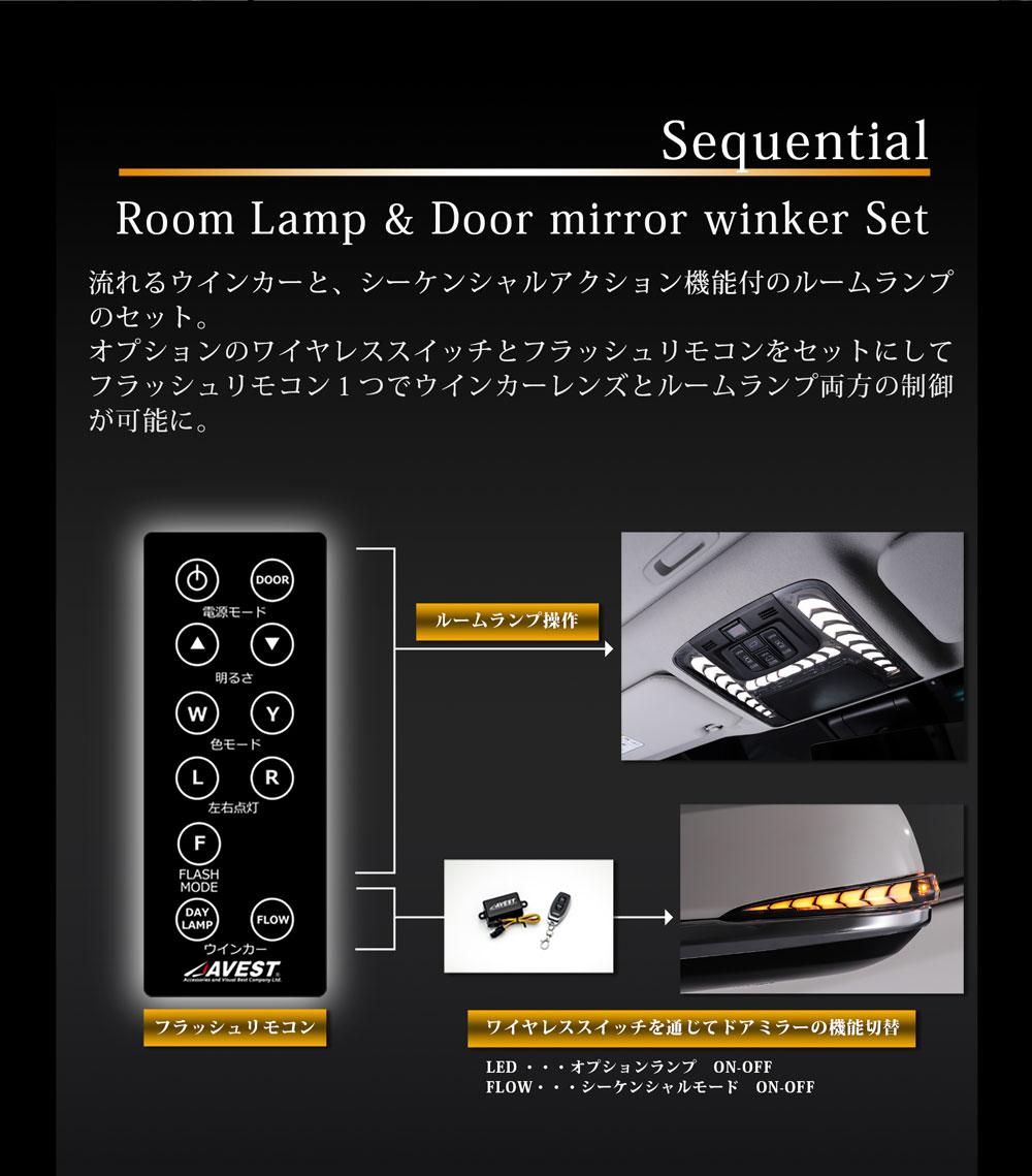 アルファード ヴェルファイア 30系 流れるウインカー&ルームランプ&ワイヤレススイッチ セット Bronze Edition