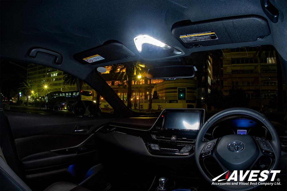 次世代型ルームランプ C-HR LEDフルセット (フロント&バニティ&リア) シーケンシャルルームランプユニット