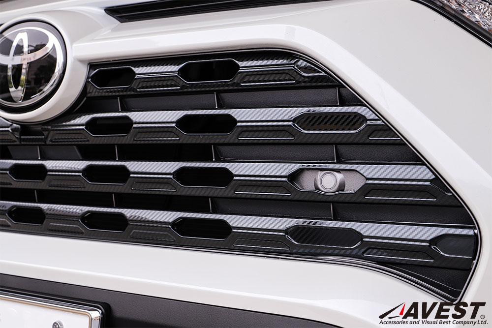 RAV4 50系 フロントグリルガーニッシュ 7Pセット シルバー ブラック カーボン調