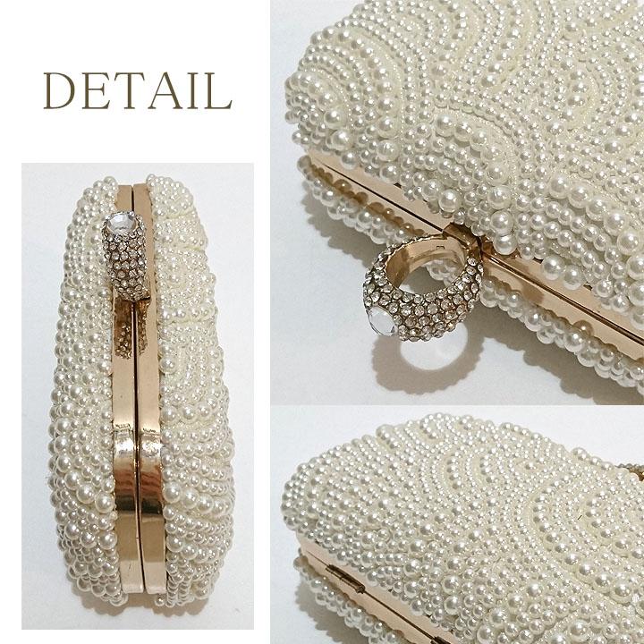 2wayパール装飾デザインがま口ミニバッグ