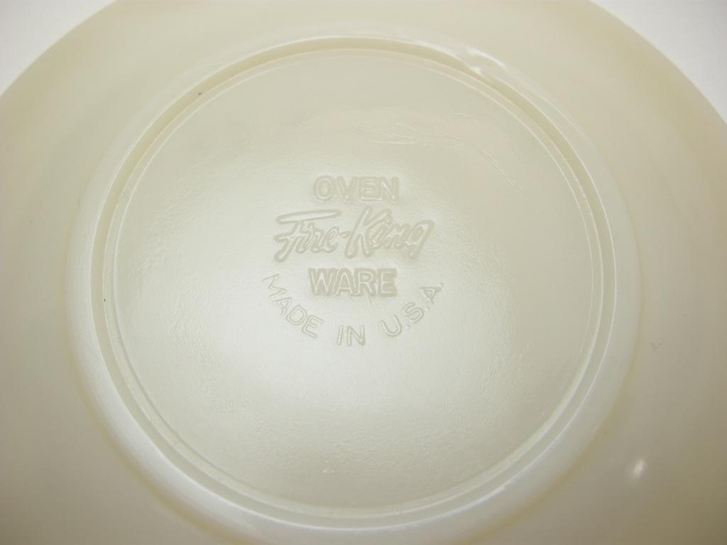ファイヤーキング スワール カップ&ソーサー アイボリー 50s後期(カップ/40s後期GLASS刻印) A No.018