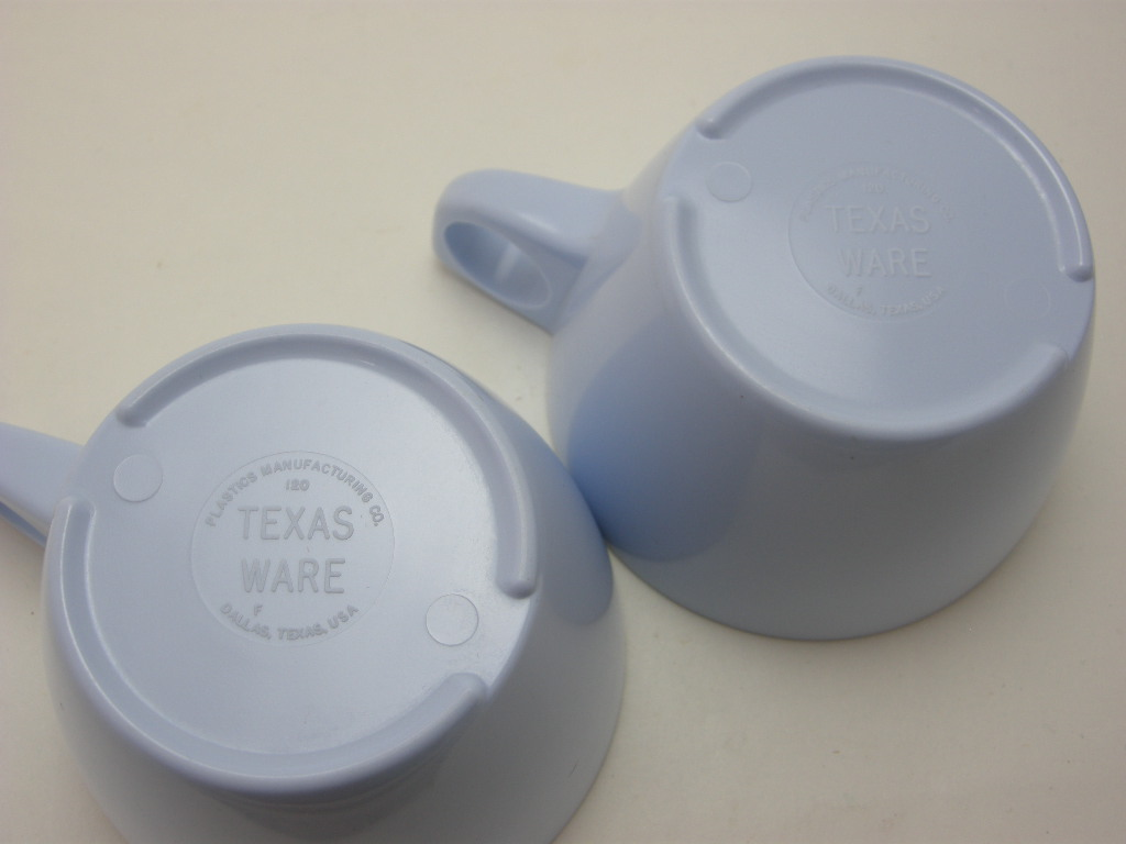 テキサスウェア メルマック カップ&ソーサー2客セット ペールブルー 1950年代 No.001 ヴィンテージ・メラミン樹脂製食器