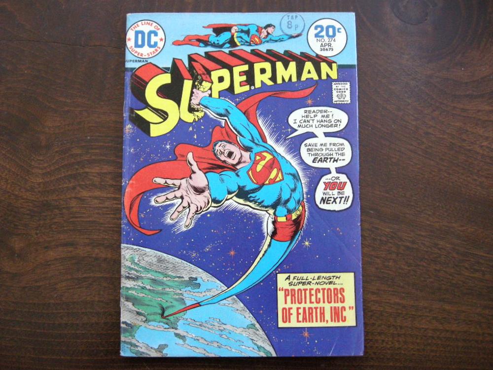 スーパーマン 『SUPERMAN (No.274)』 ヴィンテージコミックブック カラー 1974年発行 (ペーパーバック) 中古 A 送料無料