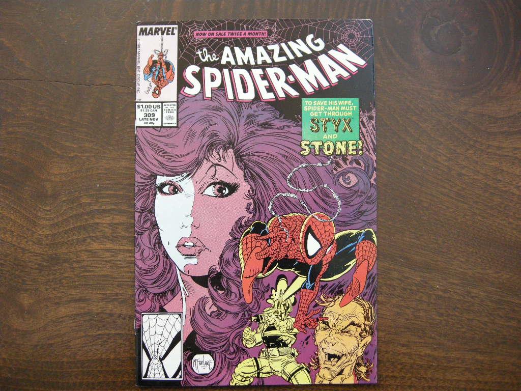 スパイダーマン 『the AMAZING SPIDER-MAN (No.309)』 ヴィンテージコミックブック カラー 1988年発行 (ペーパーバック) 中古 S 送料無料