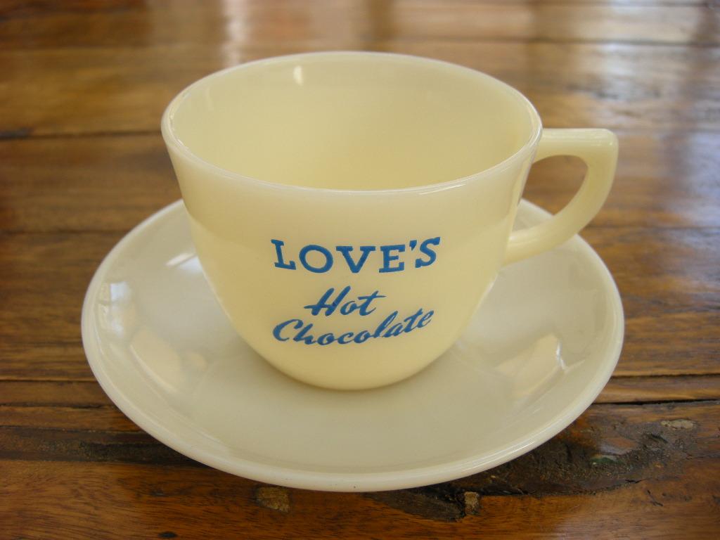 ファイヤーキング 1700Line ランソムカップ&ソーサー アイボリー LOVE'S hot chocolate (GLASS刻印) No.001