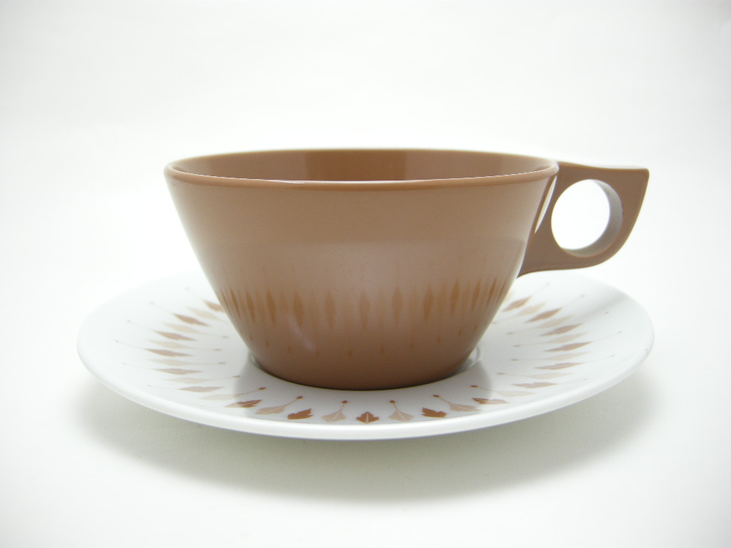 テキサスウェア メルマック カップ&ソーサー サドルブラウン 1950年代 No.008 ヴィンテージ・メラミン樹脂製食器