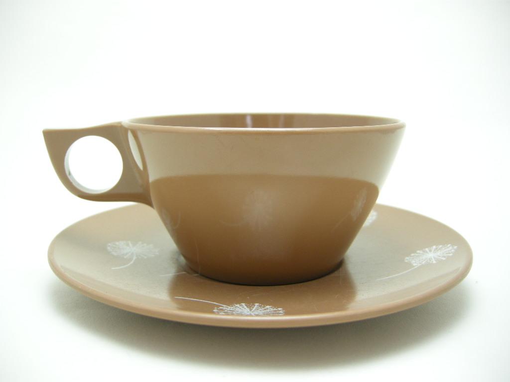 テキサスウェア メルマック カップ&ソーサー サドルブラウン(ソーサー同色) 1950年代 No.004 ヴィンテージ・メラミン樹脂製食器