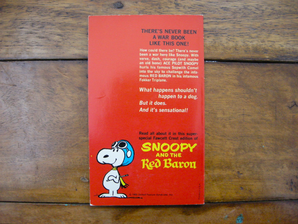 スヌーピー 『SNOOPY and the Red Baron』 ヴィンテージ絵本 カラー紙/モノクロ印刷 1966年発行 (ペーパーバック) No.021 中古A
