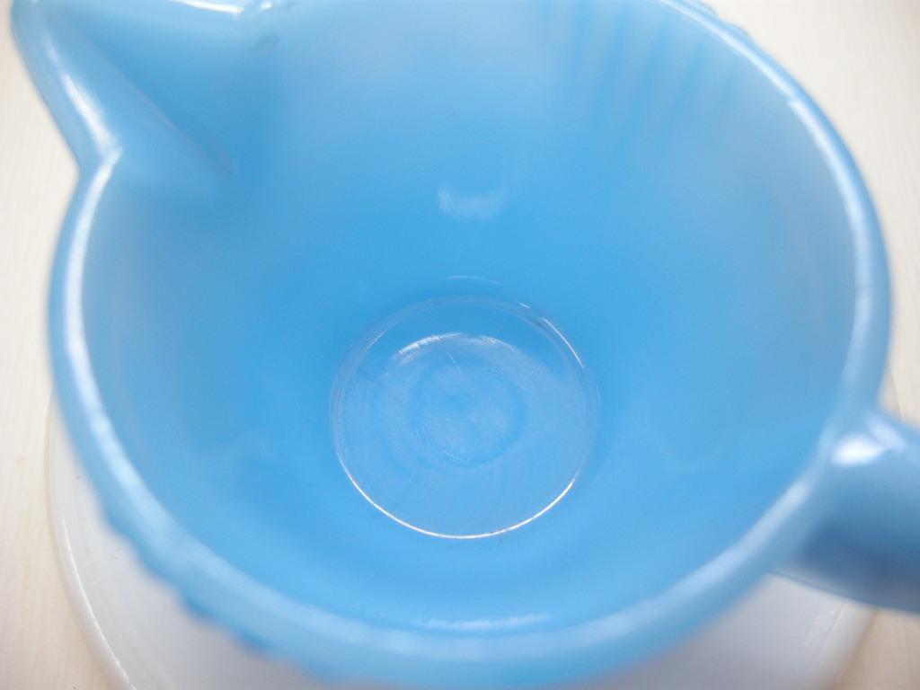 アクロアガット スタックドディスク ミニチュア クリーマー&ソーサー (コバルト)ブルー/ホワイト S No.001