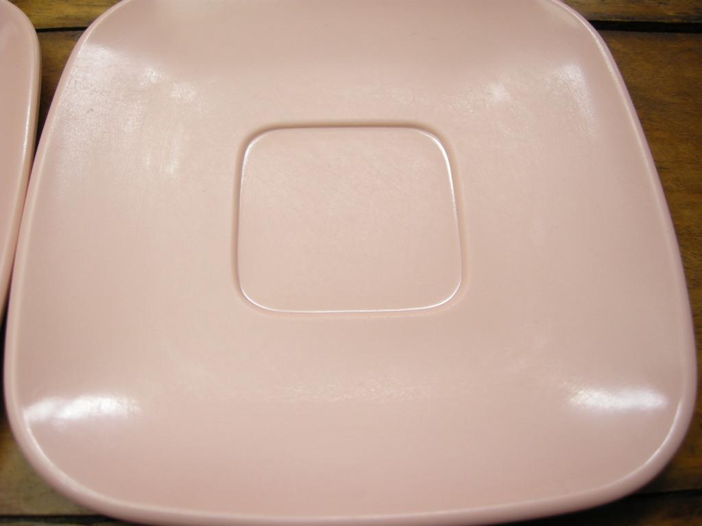 ブルックパーク メルマック カップ&ソーサー/クリーマー/ボウル ピンク 5点セット 1950年代 AB No.054 ヴィンテージ・メラミン樹脂製食器