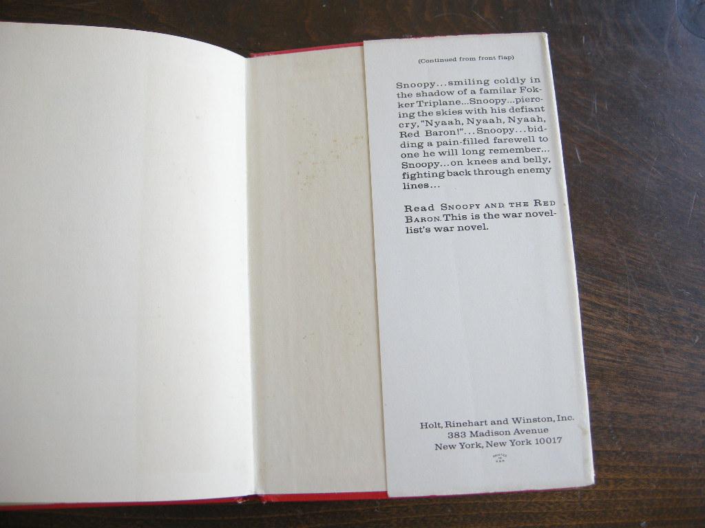 スヌーピー 『SNOOPY and the Red Baron』 ヴィンテージ絵本 カラー紙/モノクロ印刷 1966年発行 (ハードカバー/カバー付き) No.004 中古AB