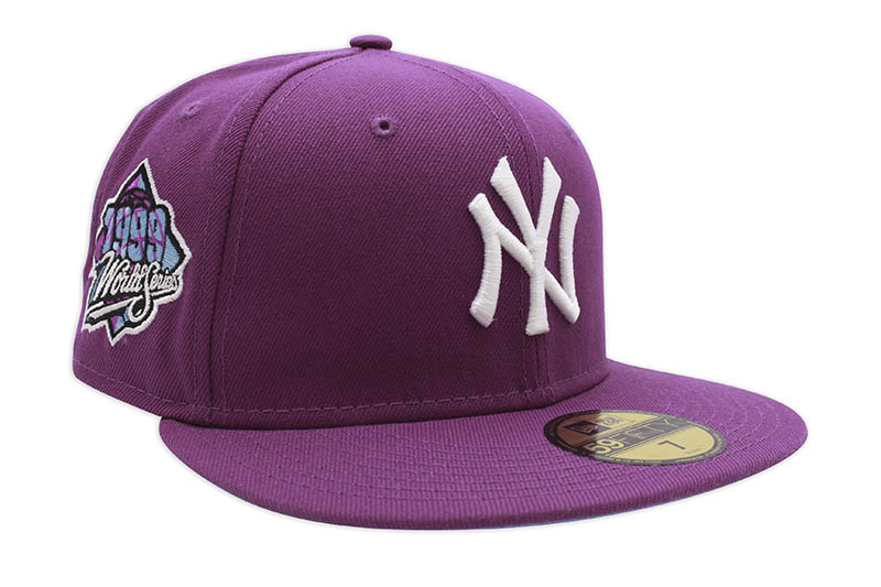 NEW ERA NEW YORK YANKEES 59FIFTY FITTED CAP (1999 WORLD SERIES CUSTOM SIDE PATCH/SKY BLUE UNDER VISOR/SPARKLING PURPLE)
