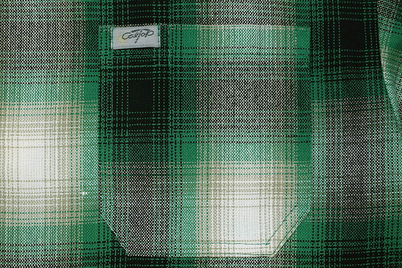 CALTOP PLAID FLANNEL SHORT SLEEVE SHIRT (#2000:GREEN/WHITE)