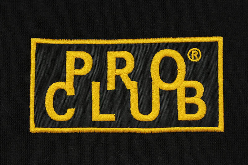 PRO CLUB HEAVYWEIGHT CUSTOM BOX LOGO CREWNECK FLEECE SWEATSHIRT (BLACK/GOLD)
