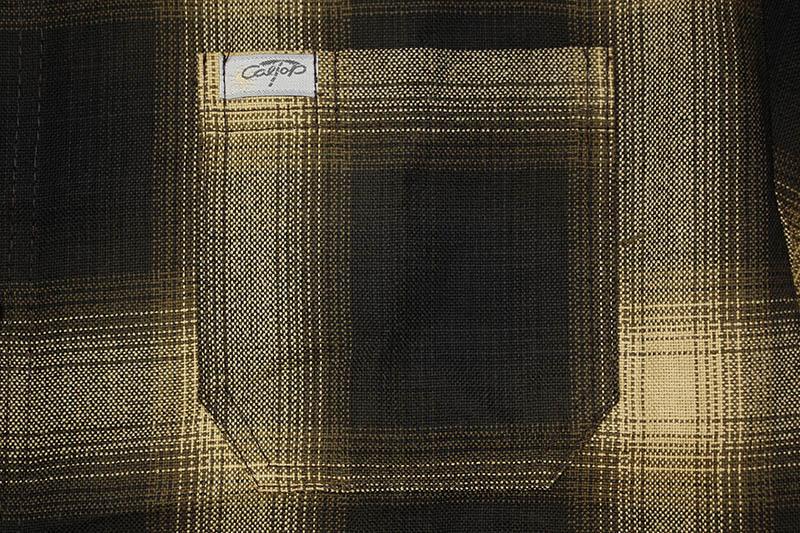 CALTOP PLAID FLANNEL SHORT SLEEVE SHIRT (#2000:BROWN/KHAKI)