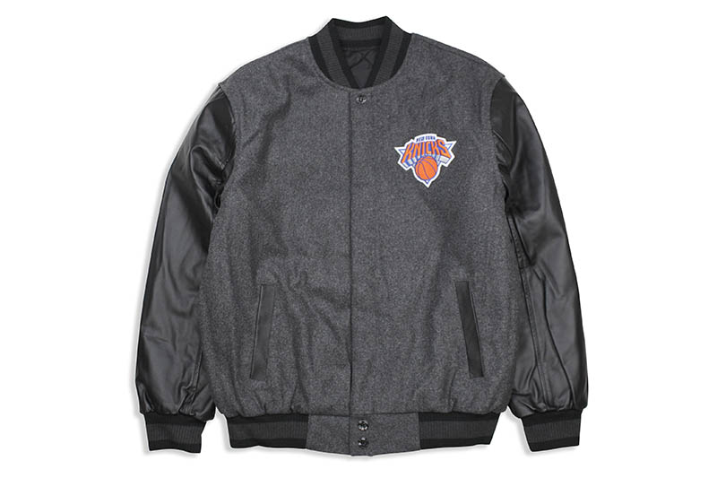 JH Design NEW YORK KNICKS REVERSIBLE LEATHER WOOL POLY TWILL JACKET (203-REV7:CHARCOAL/BLACK)