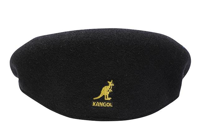 KANGOL WOOL 504 HUNTING CAP (0258BC/BG991:BLACK/GOLD)