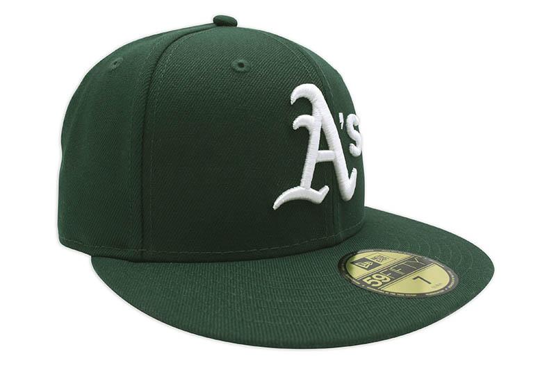 NEW ERA OAKLAND ATHLETICS 59FIFTY FITTED CAP (PINK UNDER VISOR/DARK GREEN)