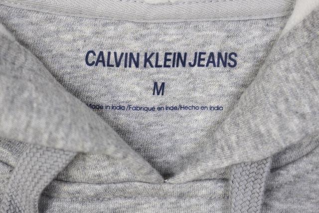 CALVIN KLEIN JEANS MONOGRAM LOGO HOODIE (41QY904-035:MIDIUM CHARCOAL HEATHER)